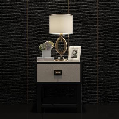 现代床头柜台灯组合3D模型【ID:97070263】