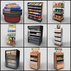 现代商场超市货架3D模型【ID:97070829】