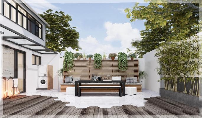 现代阳台后花园3D模型【ID:97071391】