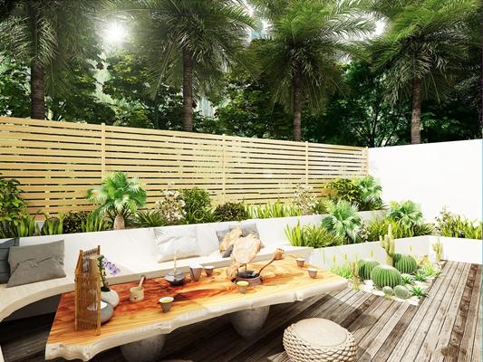 现代阳台花园3D模型【ID:97071392】