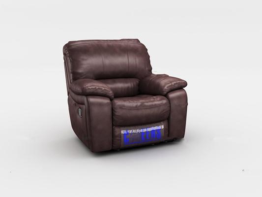 现代皮革多人单人功能沙发3D模型【ID:97071696】