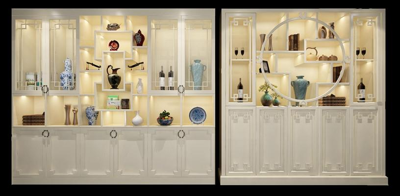 中式白色酒柜器皿摆件组合3D模型【ID:97071908】