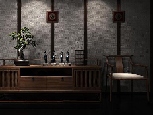 新中式电视柜单椅盆栽组合3D模型【ID:97072002】