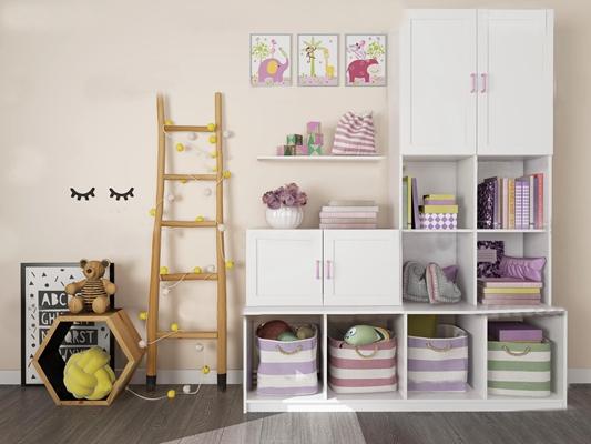 现代儿童柜收纳筐组合3D模型【ID:97072620】