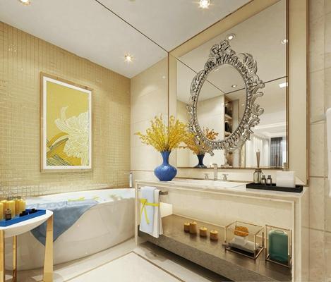 现代洗手台浴缸组合3D模型【ID:97074147】