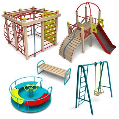 现代秋千滑梯儿童游乐设施3D模型【ID:97074658】