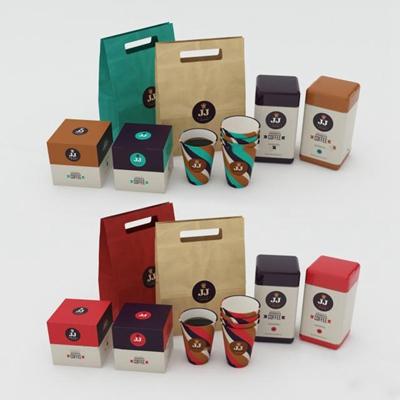 现代马克杯包装盒组合3D模型【ID:97074730】