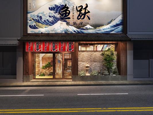 日式寿司店门面3D模型【ID:97075558】