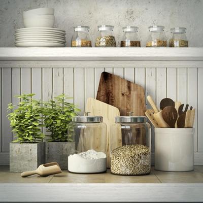 现代餐具玻璃谷物器皿盆栽组合3D模型【ID:97076033】