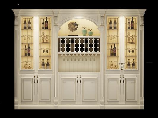 欧式白色酒柜摆件组合3D模型【ID:97076207】