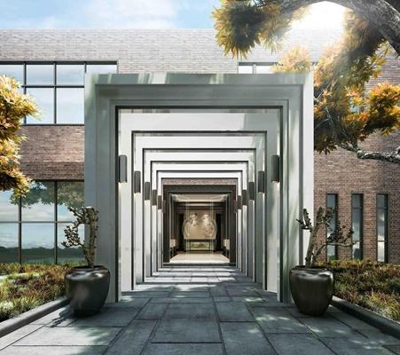 现代建筑门头门厅3D模型【ID:97076752】