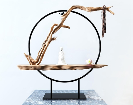 新中式枯枝雕塑摆件3D模型【ID:97078616】