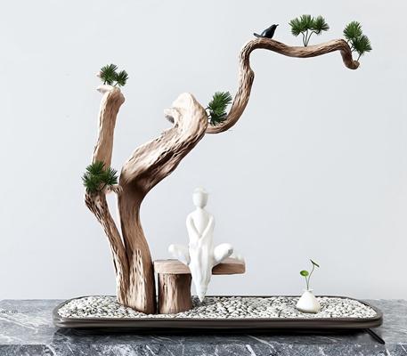 新中式松树人物雕塑摆件3D模型【ID:97078617】