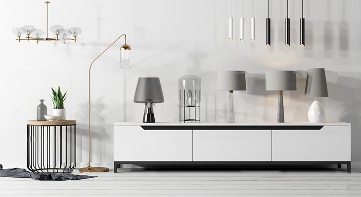 现代实木电视柜圆几台灯吊灯组合3D模型【ID:97079108】
