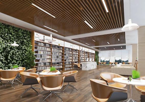 现代图书馆阅览空间3D模型【ID:97079836】