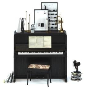 现代钢琴摆件3D模型【ID:97080106】