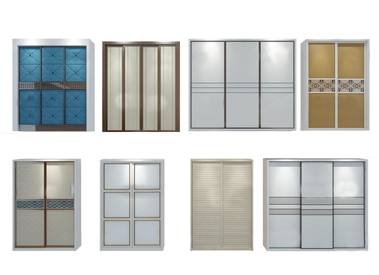 现代衣柜门板组合3d模型【ID:97080292】