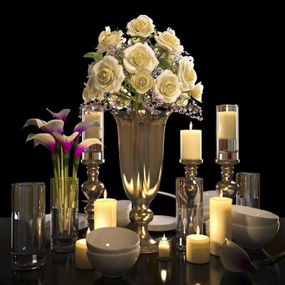 欧式烛台花瓶餐具组合3D模型【ID:97080735】