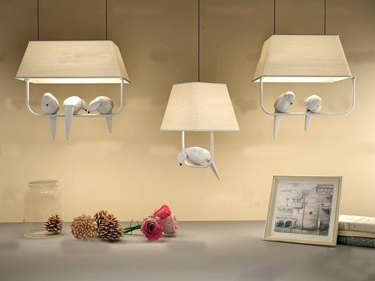 现代鸽子吊灯松球玫瑰组合3D模型【ID:97081280】