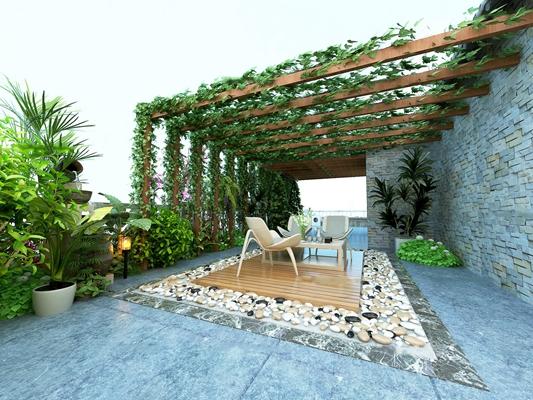 现代阳台花园葡萄架藤蔓组合3D模型【ID:97081295】