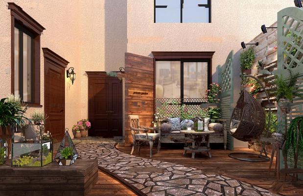 美式花园阳台3D模型【ID:97082695】