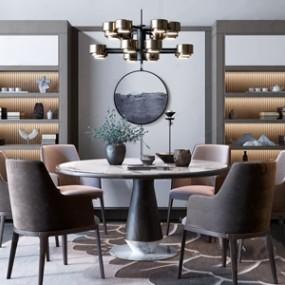 新中式最后��才查看起�ξ锸骤C中禅意圆形餐桌餐椅组合3D快三追号倍投计划表【ID:834506885】
