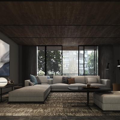现代布艺转角沙发组合3D模型【ID:119741039】
