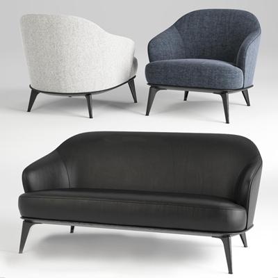 现代布艺休闲沙发皮革双人沙发组合3D模型【ID:97119568】