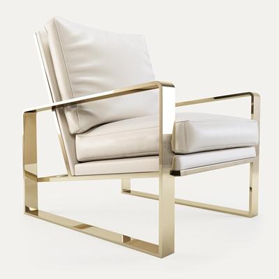 现代金属框架皮革单人沙发椅3D模型【ID:97120664】