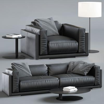 现代黑色皮革办公组合沙发落地灯3D模型下载【ID:97121268】