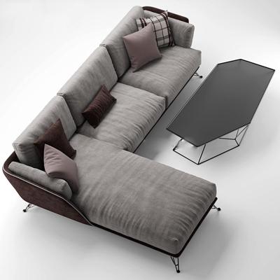 现代灰色布艺转角多人沙发茶几组合3D模型下载【ID:97121565】