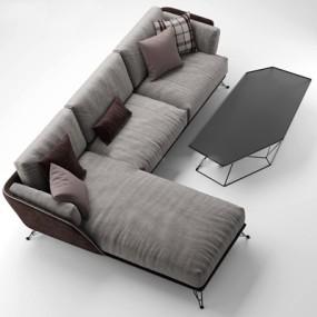 现代灰色布艺转角多人沙发茶几组合下载3D模型【ID:97121565】