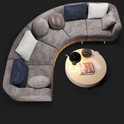 现代弧形布艺多人沙发圆几组合3D模型下载【ID:97121763】
