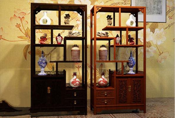 中式博古架瓷器摆件组合3D模型【ID:97129926】