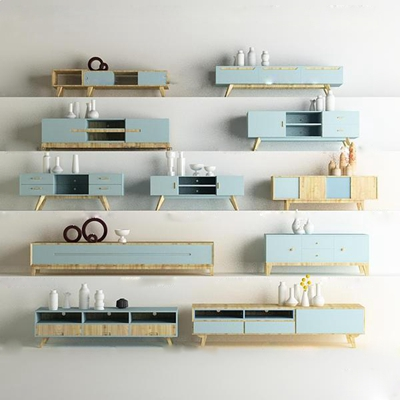 现代实木电视柜陶瓷摆件组合3D模型【ID:919742207】