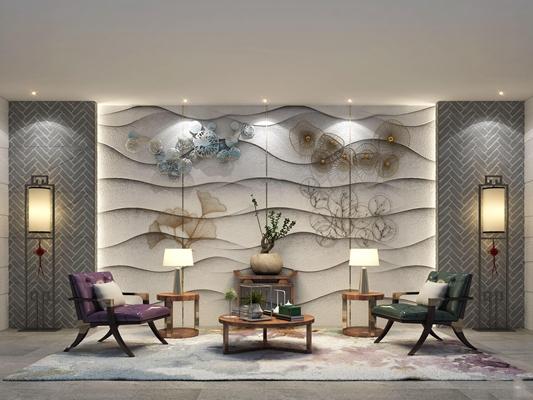 新中式端景条案休闲椅墙饰茶几组合3D模型【ID:97131421】