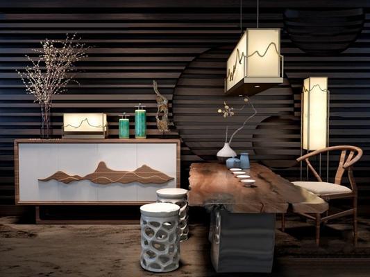 中式茶桌椅吊灯壁灯玄关柜摆件组合3D模型【ID:97132621】