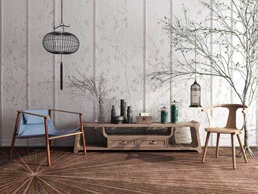 中式实木电视柜摆件单椅吊灯枯树组合3D模型【ID:97132723】