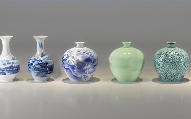 中式陶瓷花瓶装饰摆件3D模型【ID:97140219】