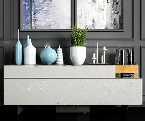 现代边柜陶瓷摆件装饰画组合3D模型【ID:919732100】