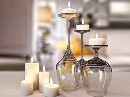 现代酒杯造型烛台蜡烛3D模型