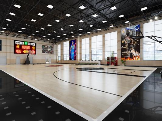 现代篮球场3D模型【ID:97166232】