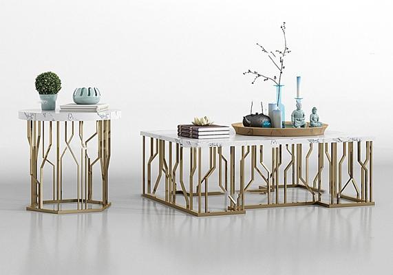 现代金属大理石茶几圆几饰品组合3D模型【ID:97167560】