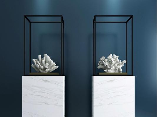 现代珊瑚雕塑摆件组合3D模型【ID:97167716】