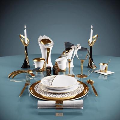 欧式金属餐具组合3d模型【ID:97167731】