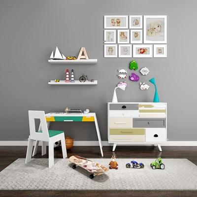 北欧儿童书柜装饰架装饰画组合3D模型【ID:97168720】