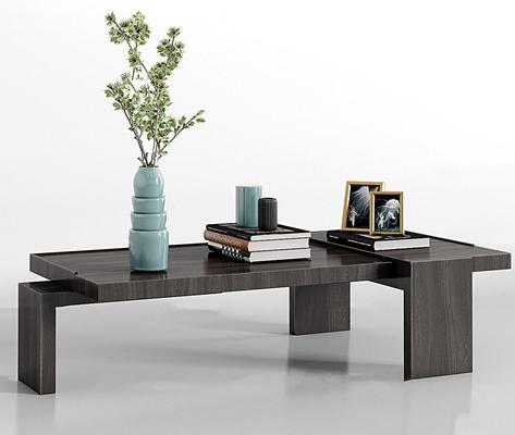 现代实木茶几饰品组合3d模型【ID:97169667】