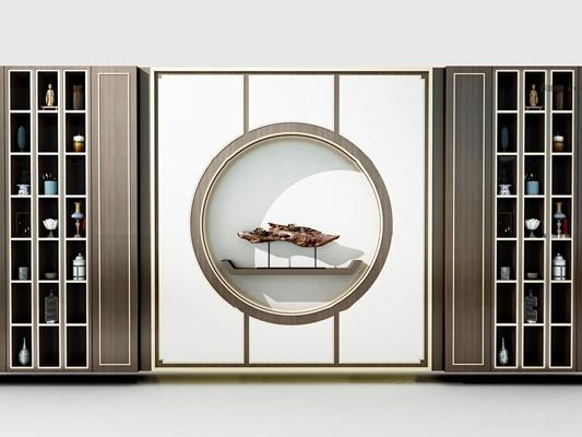 新中式装饰柜3D模型【ID:97169729】
