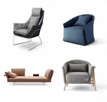 现代布艺单人沙发休闲椅组合3D模型【ID:97170067】