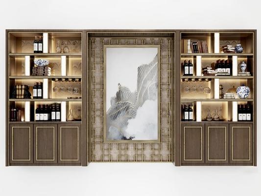 新中式实木酒柜酒水3D模型【ID:97170807】